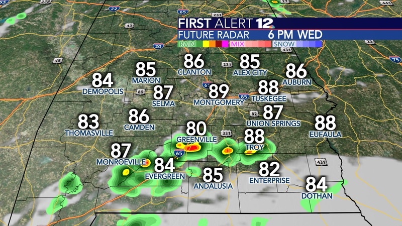 A few pop-ups are possible this afternoon and evening.