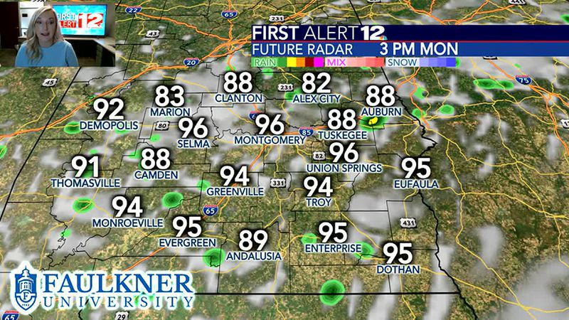 Hot with isolated rain again Monday