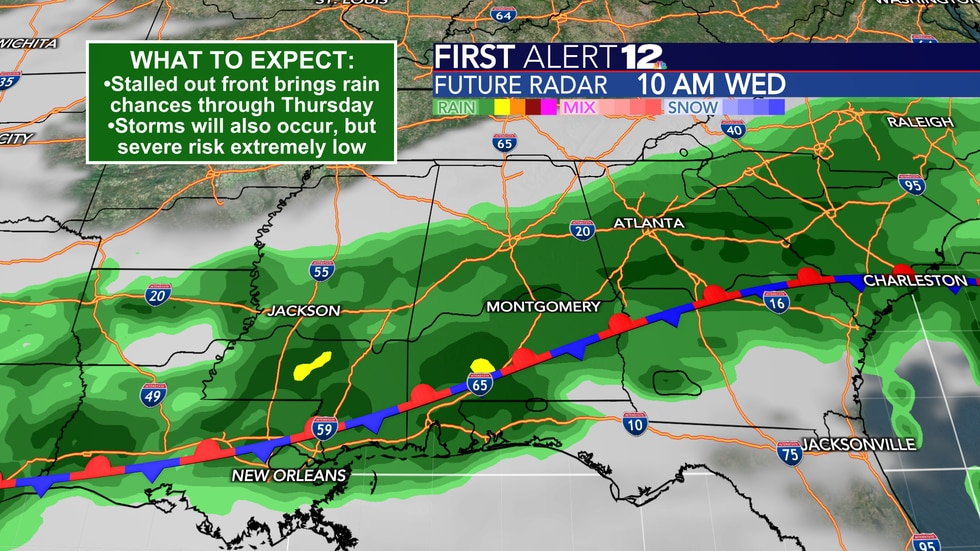 A stalled front will bring multiple chances for rain and storms through Thursday.