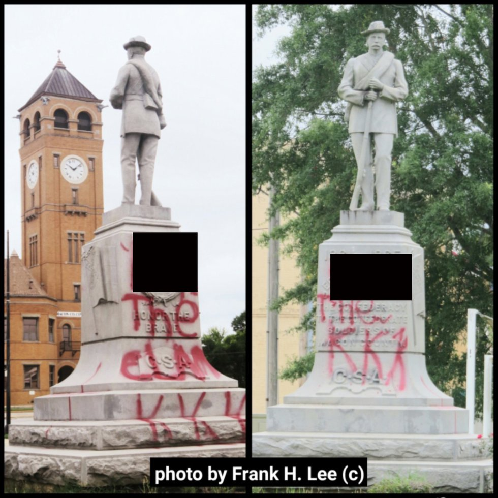 A Confederate statue in Tuskegee has been vandalized with spray paint.