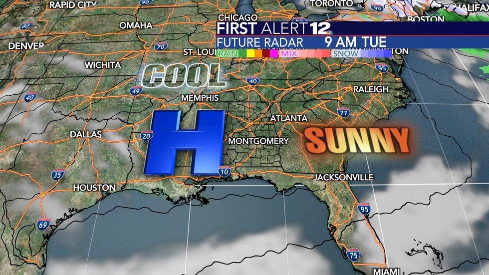 High pressure will bring entirely sunny and cool conditions through Wednesday.