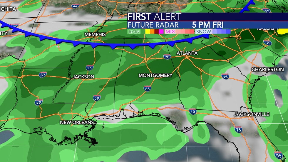 A cold front will likely bring high rain chances Friday.