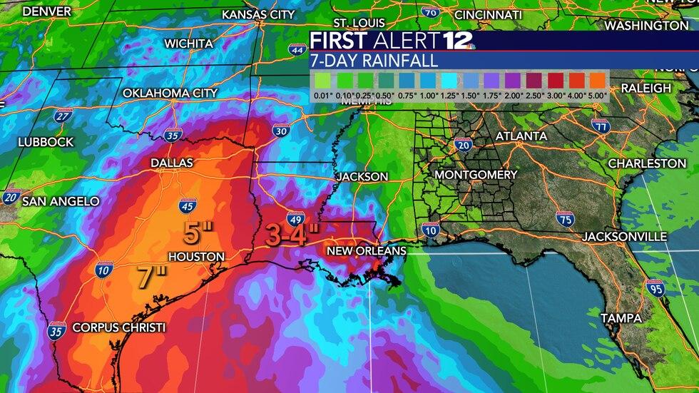 Heavy rain is expected across Louisiana and Texas, but we aren't expecting any rain in Alabama.