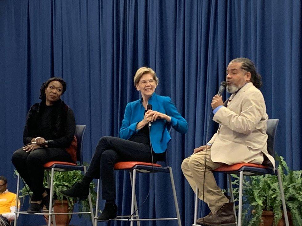 Sen. Elizabeth Warren takes the stage at Selma's presidential forum.