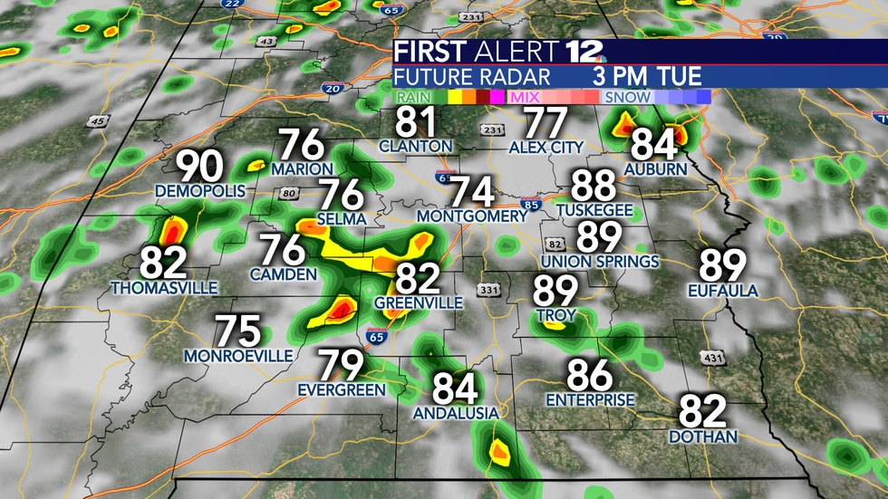 Scattered showers and storms Tuesday.