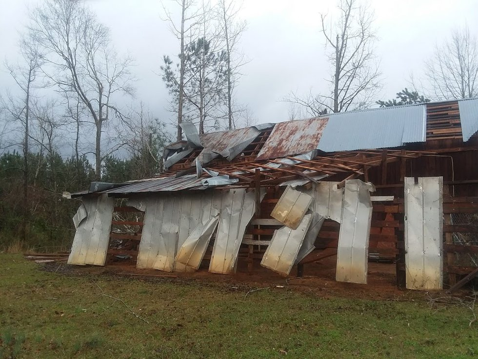 One large tree fell on a mobile home. The tornado also damaged an outbuilding before moving...