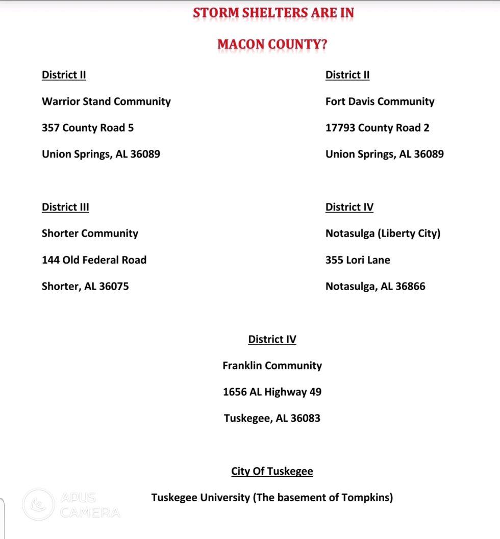 Macon County shelter locations