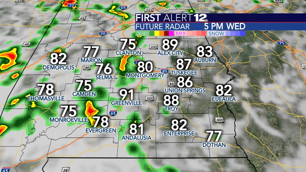 Scattered to numerous showers and storms are expected Wednesday.