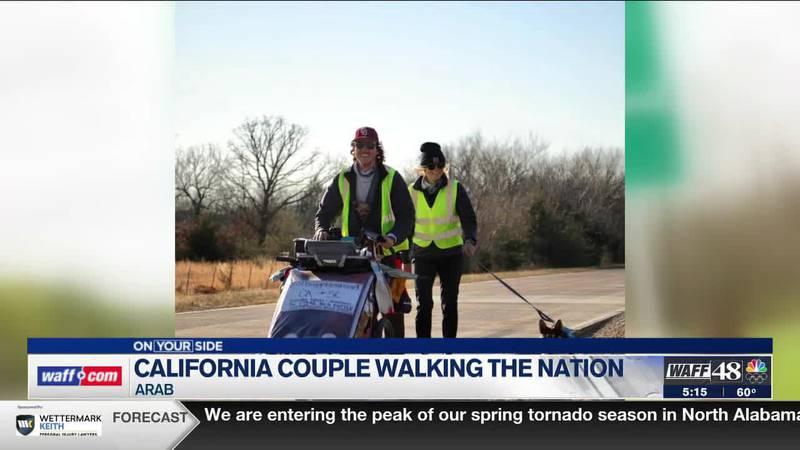 California couple walking the country walk through Arab