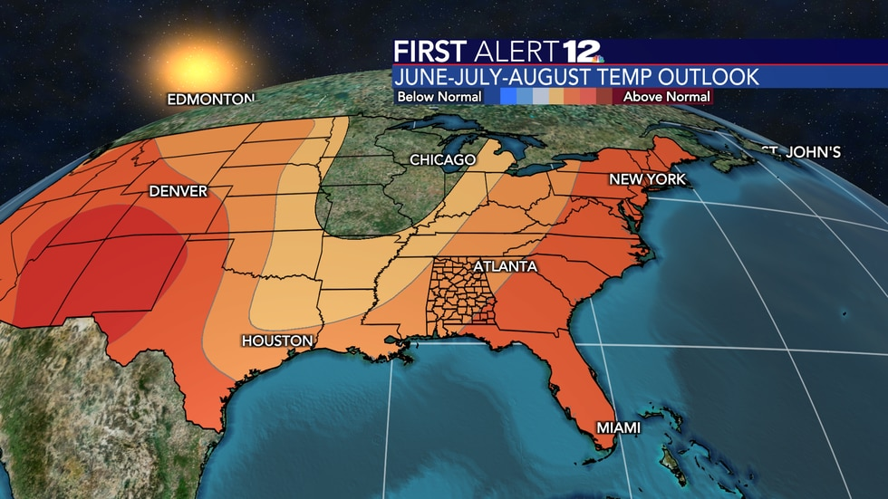 Temperatures are forecast to be above normal this summer overall.