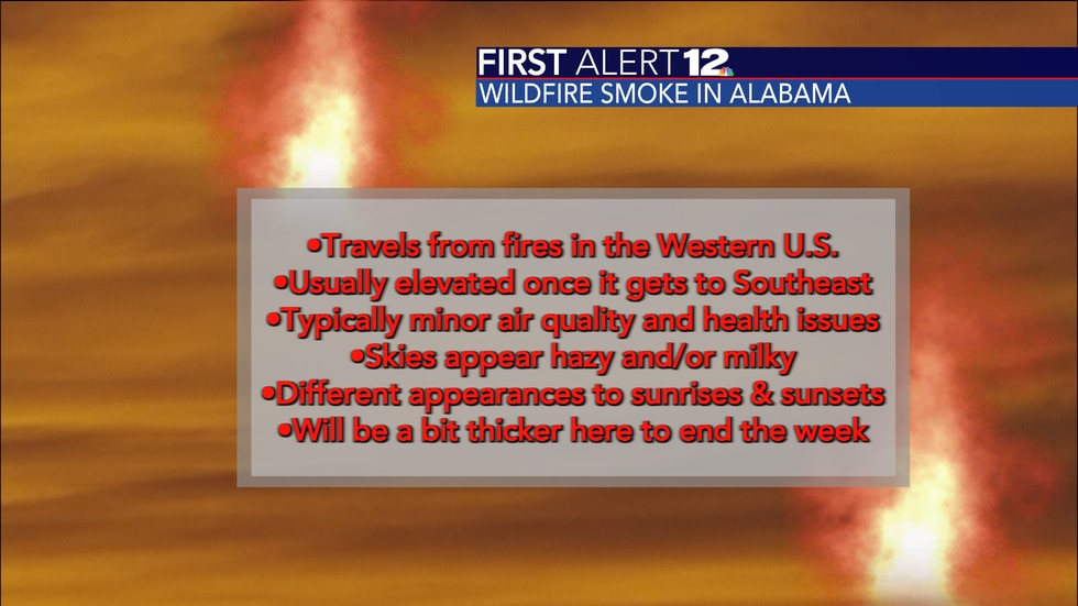 Smoke will return to the skies over Alabama as wildfires continue to burn out West.