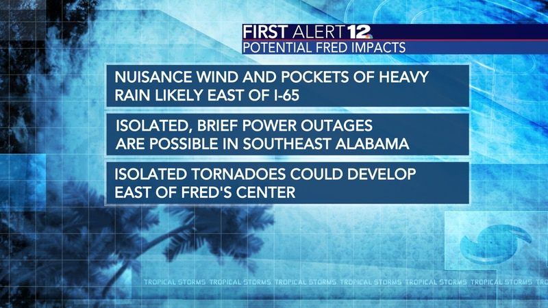 Fred's impacts mainly east Alabama