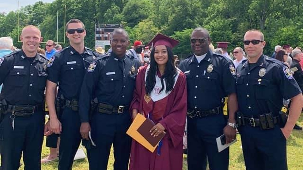 Officers with LMPD made an appearance at a local high school graduation to support and...