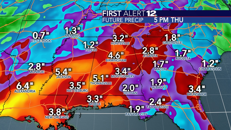 """Total rain over the next 10 days will be in the 2-4"""" range for many as an active pattern sets up."""