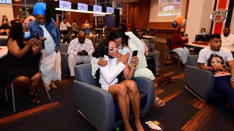 Apr 15, 2021; Auburn, AL, USA; Unique Thompson's draft party during the 2021 WNBA Draft at...