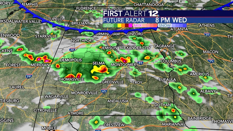A cold front will bring showers and storms late this afternoon and evening.