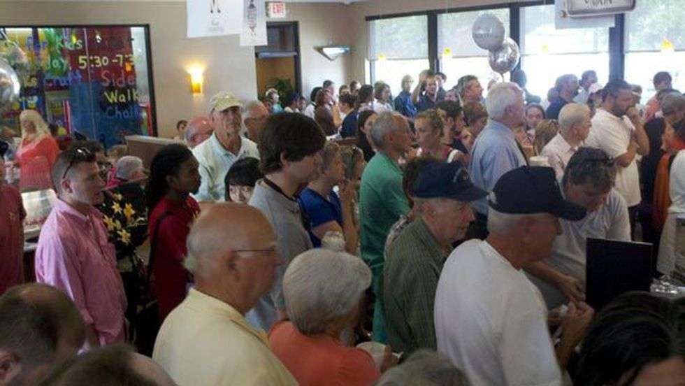 Packed crowds inside the restaurant in EastChase Wednesday. Wait time is over one hour.