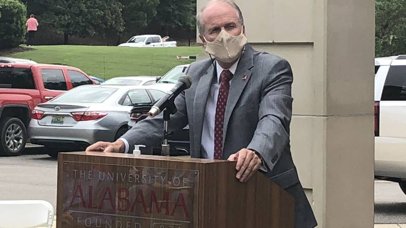 University of Alabama President Dr. Stuart Bell during a press conference on August 24th...