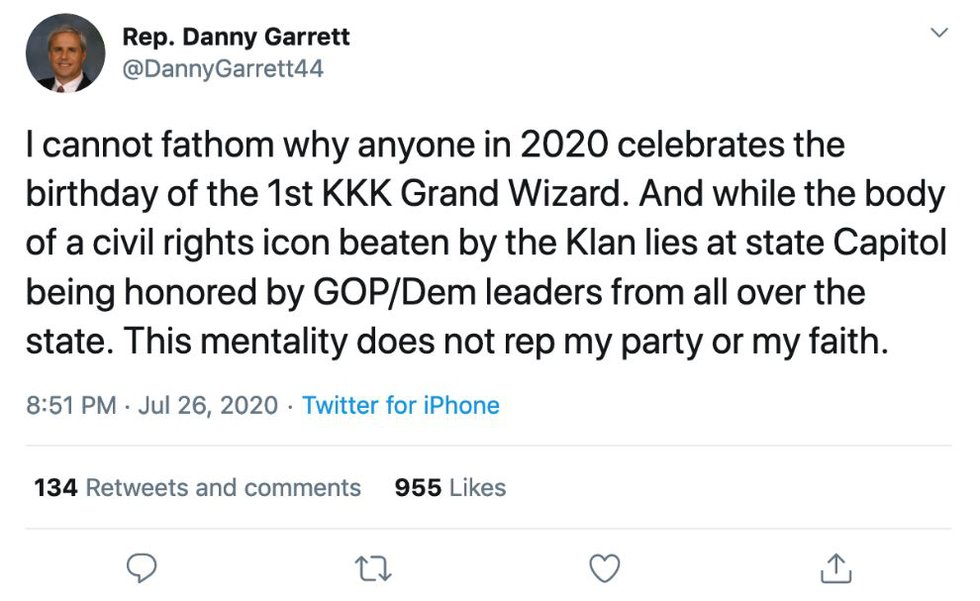 Rep. Danny Garrett reacted to Rep. Will Dismukes' Facebook post about celebrating Nathan...