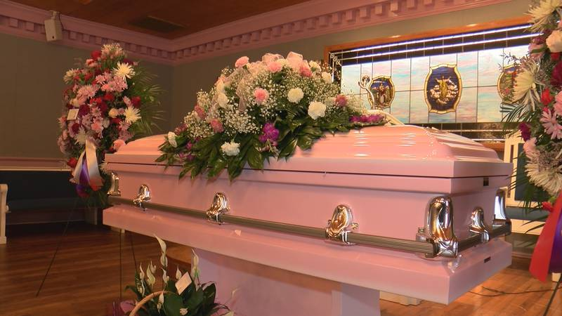 The Civil Rights advocate's casket sits at Phillips-Riley Funeral Home.