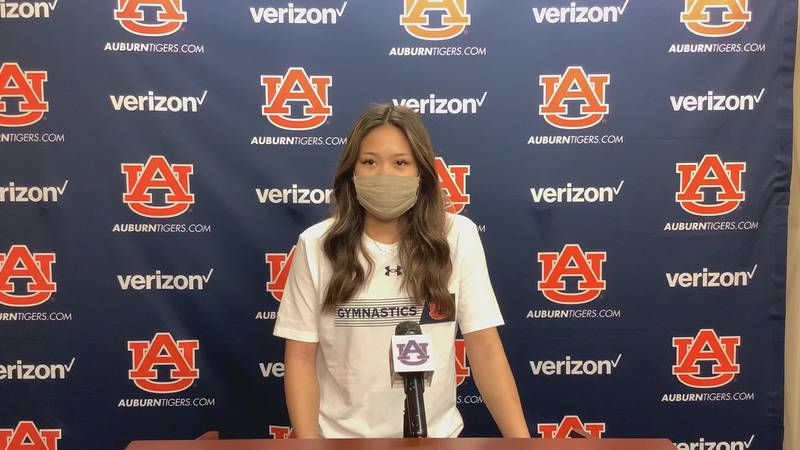 Auburn freshman and Olympic gold medalist Suni Lee talks with the media Aug. 13, 2021, after...