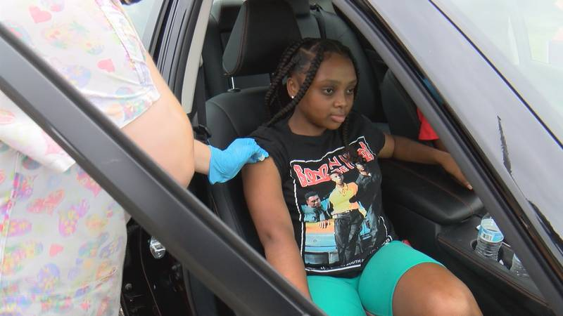 14-year-old Camryn Dillard, who returns to school in August, visited the clinic and received a...
