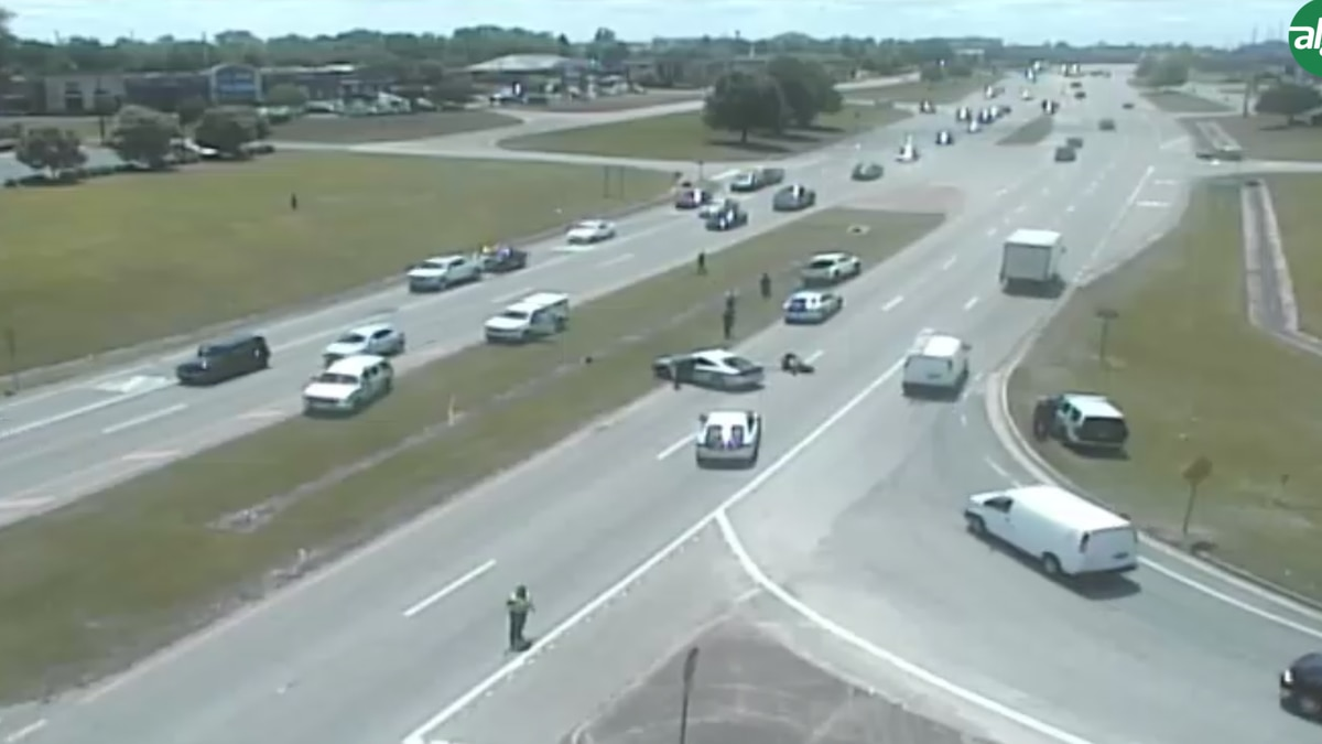 An ALDOT traffic camera shows the scene of a crash involving a motorcyclist who was fleeing law...