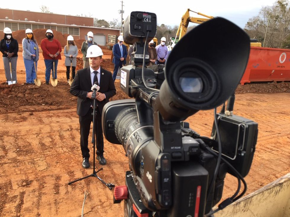 Tallassee city and school leaders take part in a groundbreaking for the new Tallassee High...