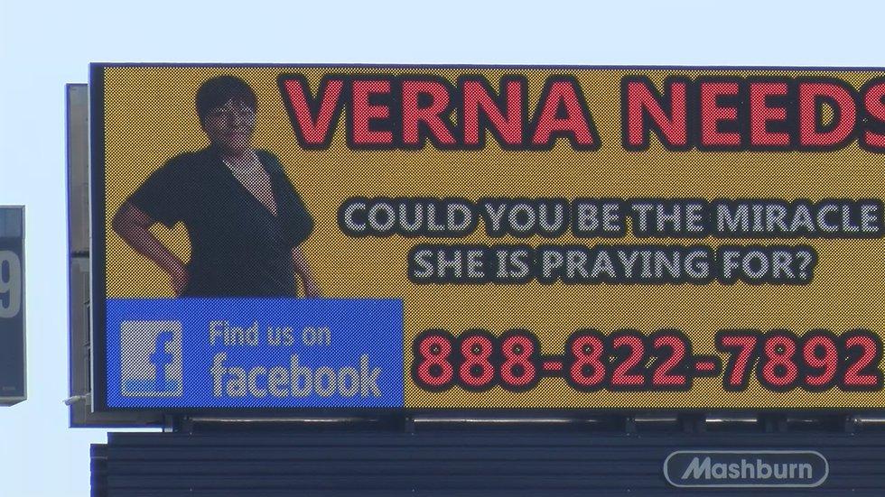 "One of the nine ""Verna Needs a Kidney"" billboards in Montgomery and Birmingham."
