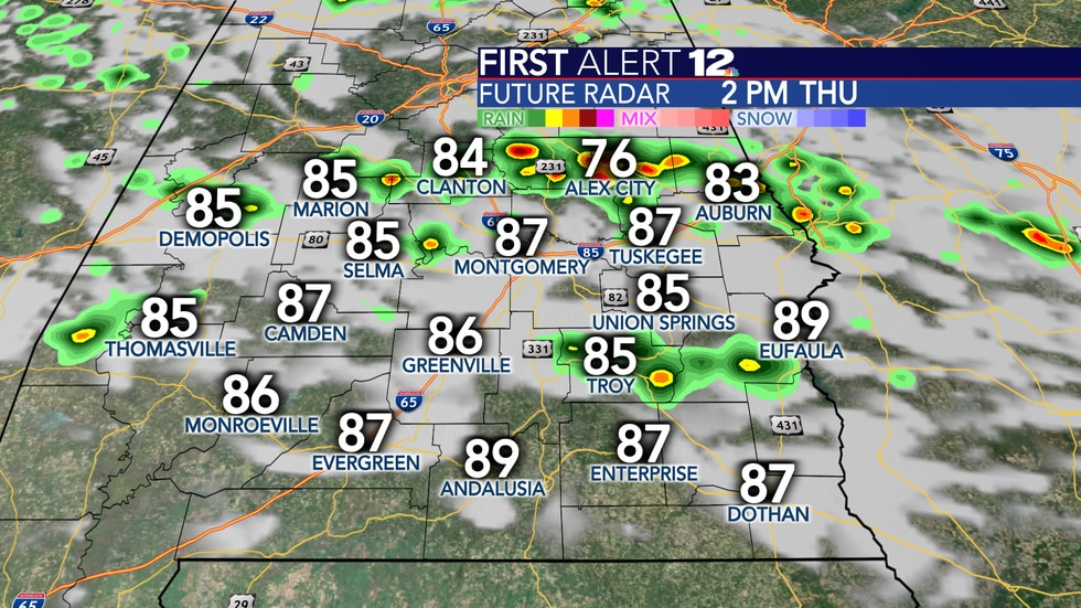 Scattered storms will be around, but they won't be as widespread or numerous as previous days