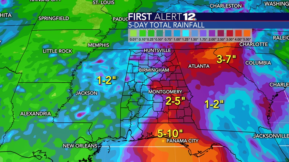 """Rainfall will total 2-4""""+ in most spots across our area."""