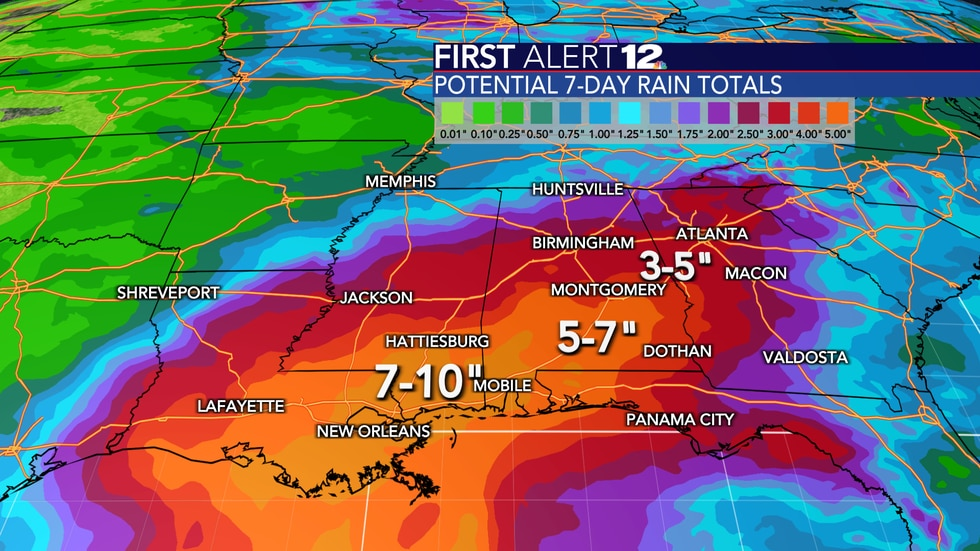 """Rain totals over the next week will reach 3-6""""+ across the southern half of Alabama. Exact..."""