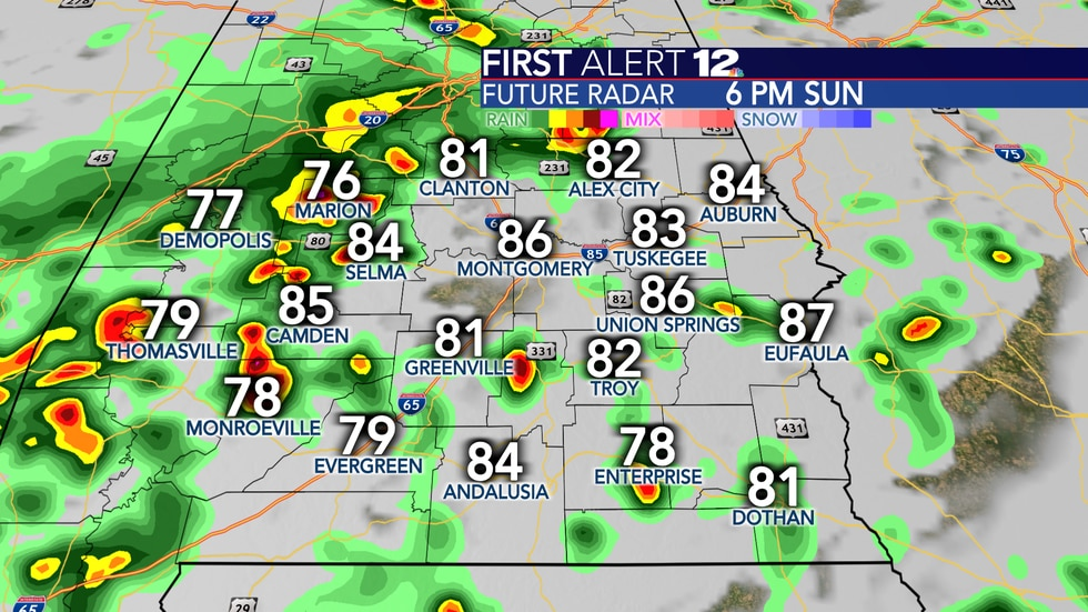 More showers and storms tomorrow