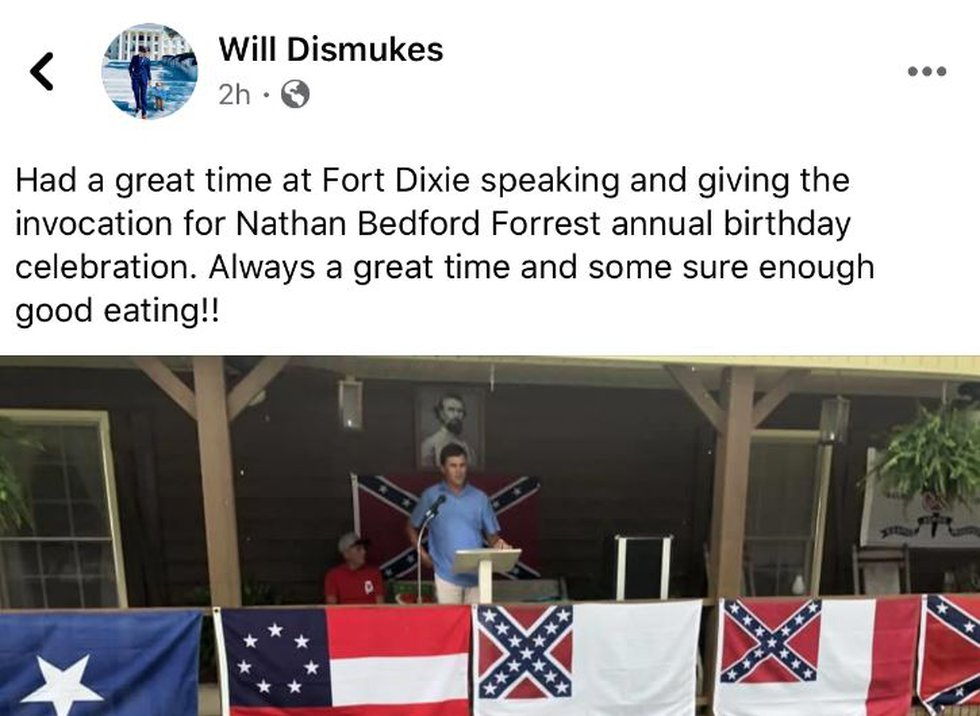 Alabama Rep. Will Dismukes gave the invocation at an annual birthday celebration for Nathan...