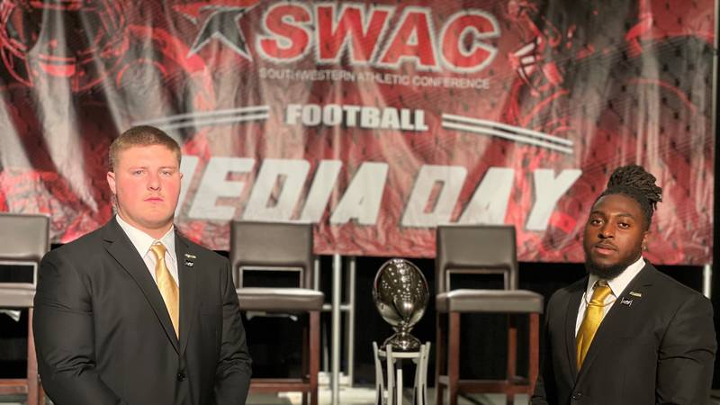 Alabama State linebacker Colton Adams (left) and running back Ezra Gray (right) attend the 2021...