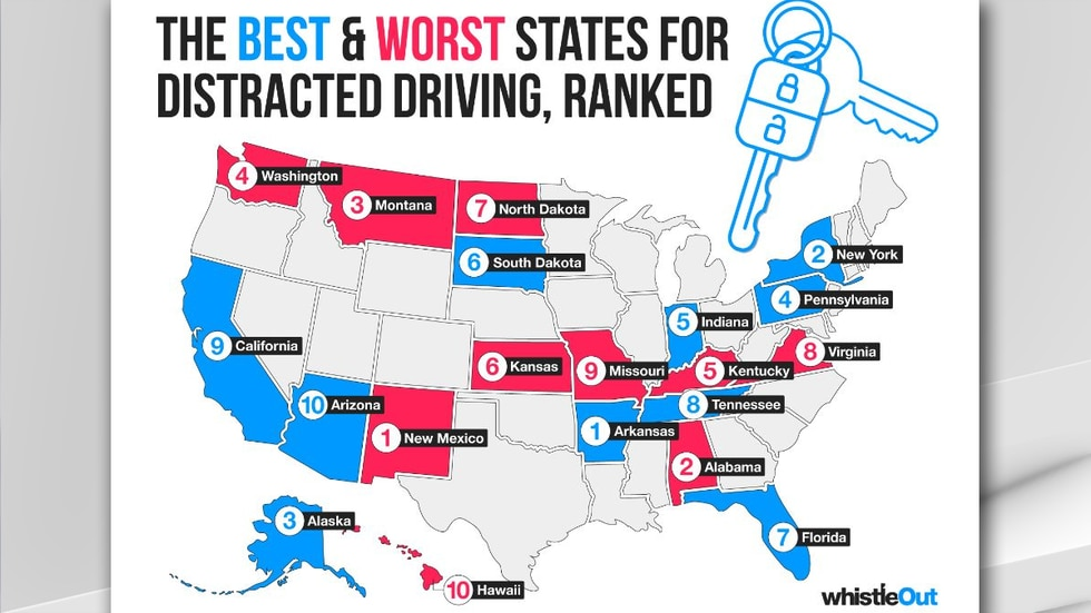 According to a new study by WhistleOut, Alabama ranks second in the nation for distracted...
