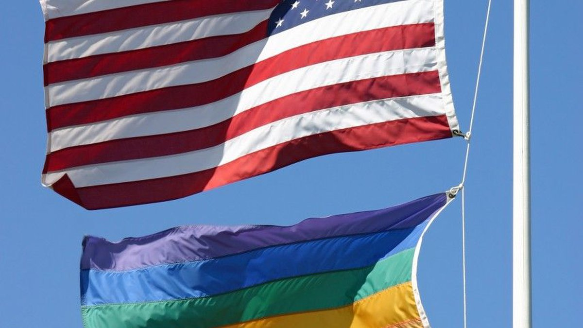 Gay Pride Flag with American Flag (Source: Google Images)
