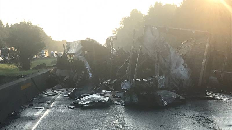 Northbound lanes of Interstate 85 in Macon County are closed after a crash and diesel fuel fire.