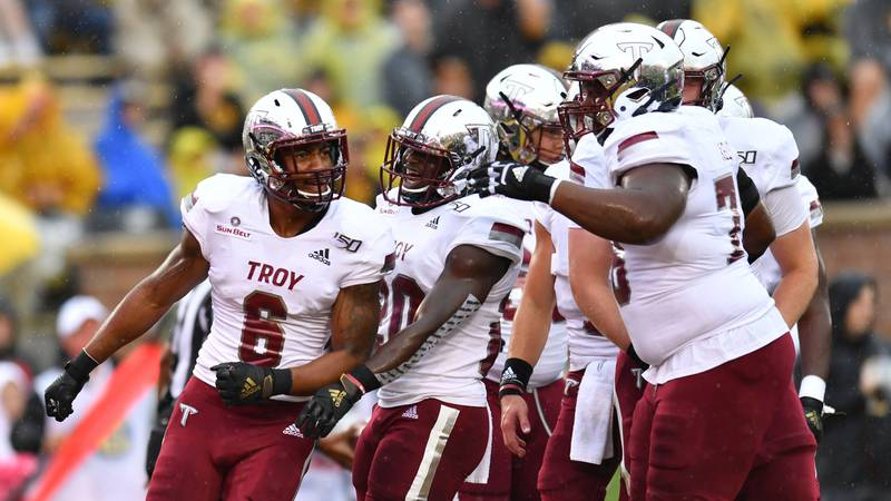 Khalil McClain celebrates after putting the Troy Trojans ahead in the first quarter in their...