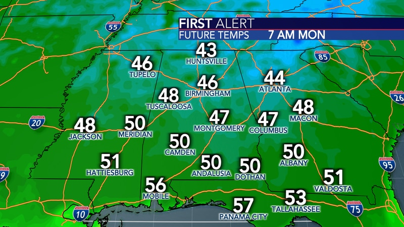 Sunday, Monday and Tuesday will all start very cool in the upper 40s and lower 50s.