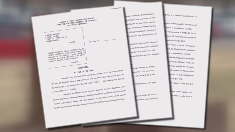 Four Alabama A&M students filed a federal lawsuit claiming their voting rights were denied when...