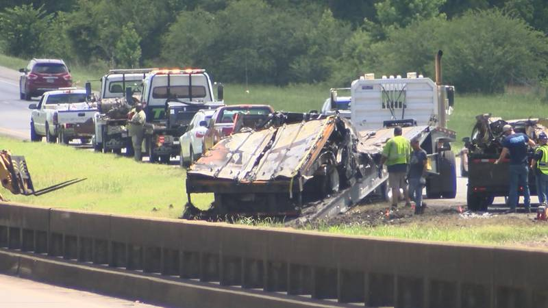 Authorities confirm that 10 people were killed in a two-vehicle crash on Interstate 65 near...