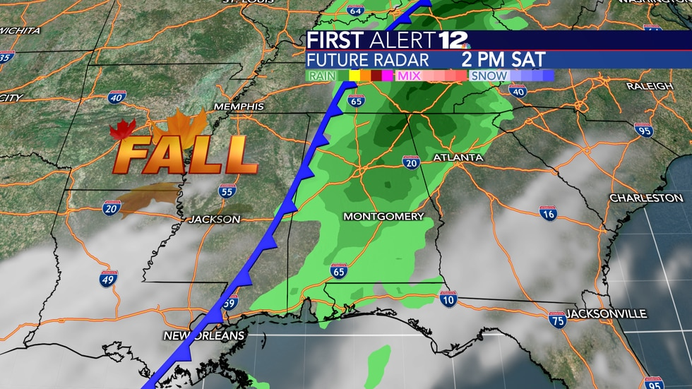 A fall cold front comes through Saturday, bringing much cooler air and a few showers.