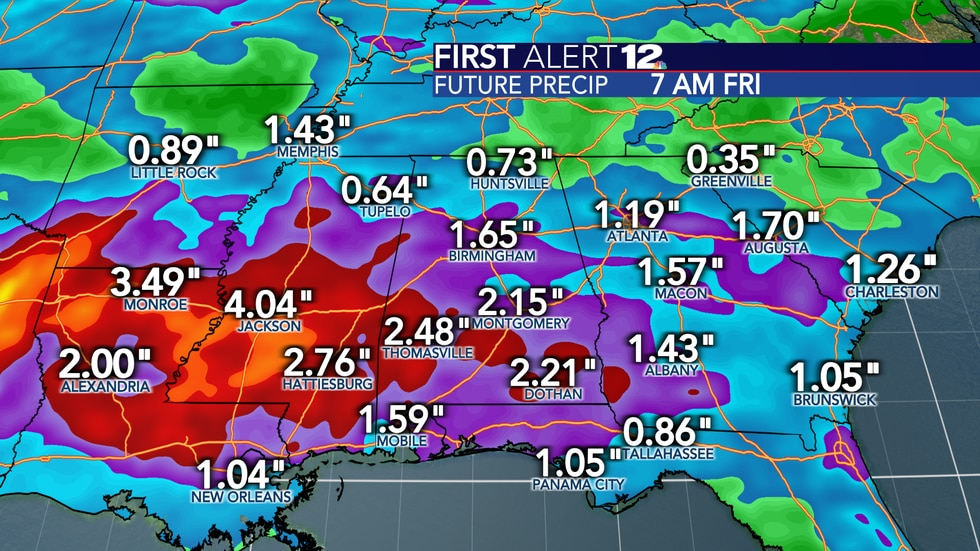 """Total rain next week will add up to 2-3"""" in most spots, but flooding is not expected."""