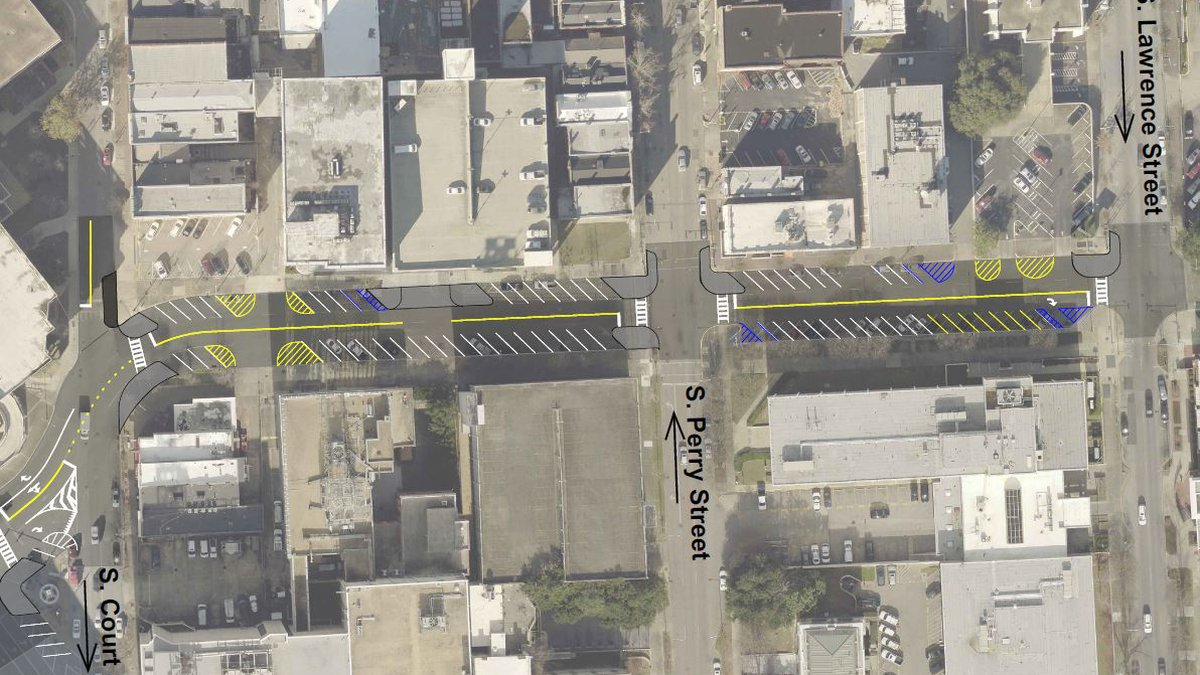 The City of Montgomery is converting two blocks of Washington Avenue into two-way traffic.