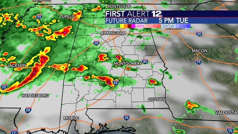 Showers and storms are likely by late in the day Tuesday.