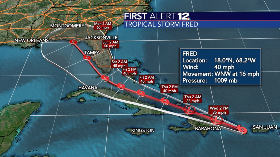 Fred will move just west-northwestward through the Caribbean before turning north once in the...