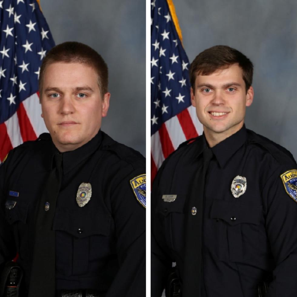 Officers Webb Sistrunk (left) and Evan Elliott (right), injured in deadly Auburn shooting