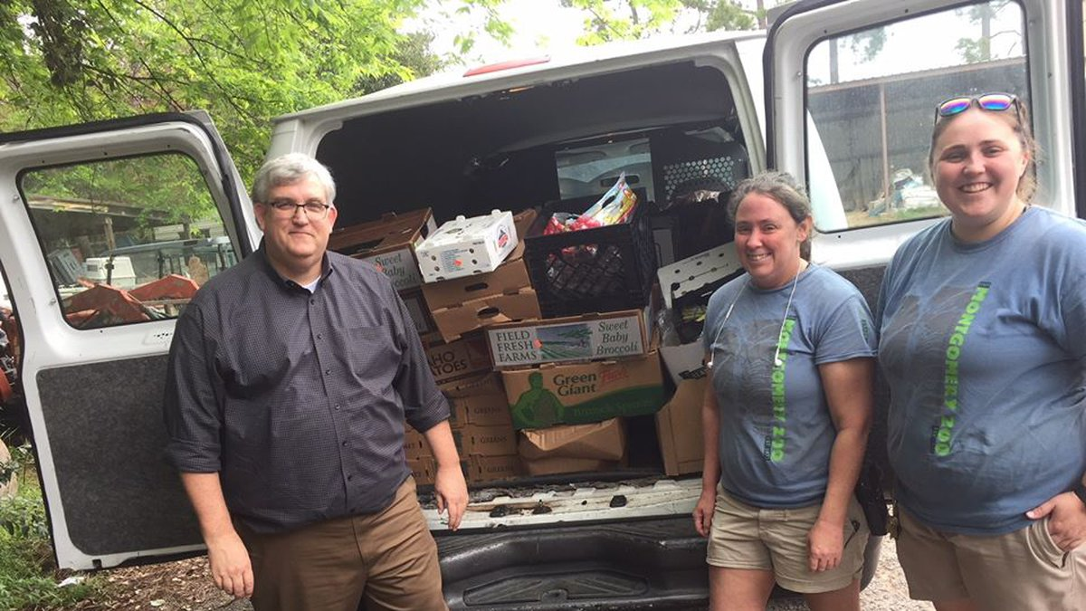 A food donation comes in to the Montgomery Zoo from the Renaissance Montgomery Hotel and Spa.