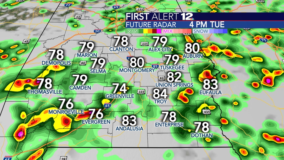 Numerous showers and storms are likely again tomorrow